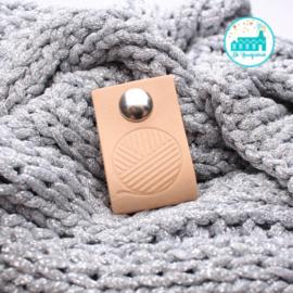 Big Labels with Push-Button Naturel 10 cm x 3 cm 'Sphere Wool'