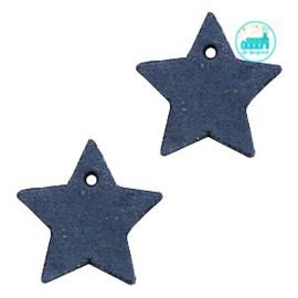 Leren Ster Labels 25 mm Blauw