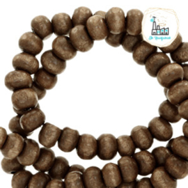 Houten kralen rond 8mm Nature hout-dark brown