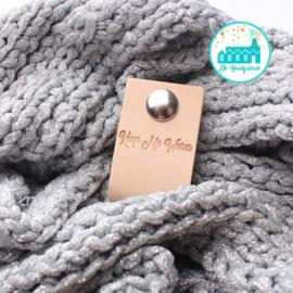 Big Labels with Push-Button Naturel 10 cm x 3 cm 'Keep me Warm' (sier)