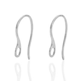 Roestvrij stalen (RVS) Stainless steel oorbellen met oogje Zilver