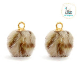 POMPOM BEDELS FAUX FUR LEOPARD BROWN 12MM