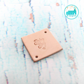 Vierkant Leren Label met tekst Baby Boy 3,5 cm x 3,5 cm