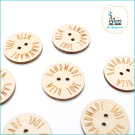 Flat Wooden Button 25 mm 'Handmade with Love'