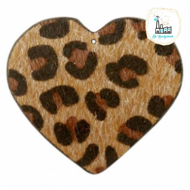 Hairy imi leer hangers hart met leopardprint Brown 56x50mm
