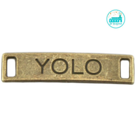 Metalen label YOLO bronskleurig  28 mm x 6 mm
