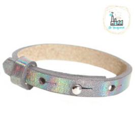 Cuoio armband leer kids 8mm Holographic Grey