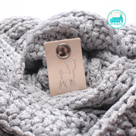 Big Labels with Push-Button Natural 10 cm x 3 cm 'Deer' Silver