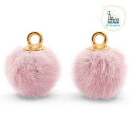 Pompom bedels met oog faux fur 12mm Vintage pink-gold