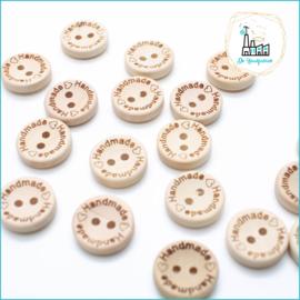 15 mm Houten Knoopjes Handmade met hartje