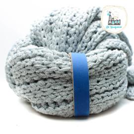 Leren Sjaal lus met drukknoop 21 cm kobalt blauw