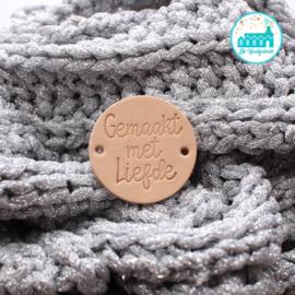 Ronde Leren label 3,5 cm Gemaakt met liefde (DEC)