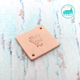 Vierkant Leren Label met tekst Baby Girl 3,5 cm x 3,5 cm