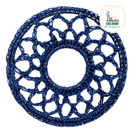 Gehaakte hanger rond 54mm Denim blue