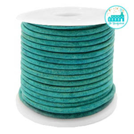 Round Leather String 1 mm Aqua Blue