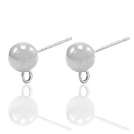 Roestvrij stalen (RVS) Stainless steel oorbellen met oog Zilver