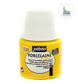 Porseleinverf Pébéo 001 Citrine yellow flacon 45ml