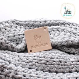 Vierkant Leren Label Handmade met handje