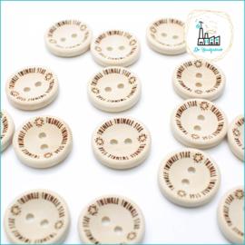 20 mm Houten Knoopjes Twinkle Twinkle Star Design De Haakfabriek