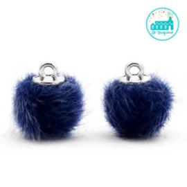 Mini Pompons Faux Fur 12 mm Donker Blauw