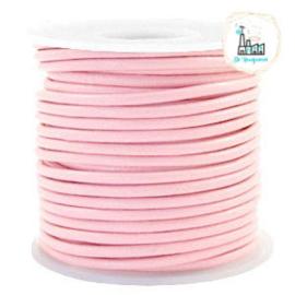 Leren Koord Rond 3 mm Roze