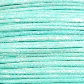 Waxkoord metallic 1.0mm Turquoise blue