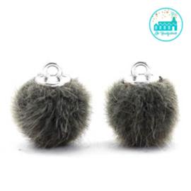 Mini Pompons Faux Fur 12 mm Sage Groen