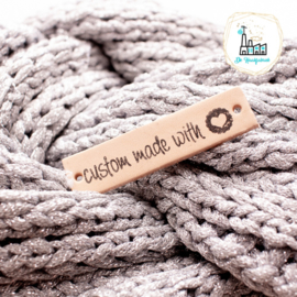 Leren Label 1,5 cm CUSTOM MADE WITH  ♥ BEDRUKT