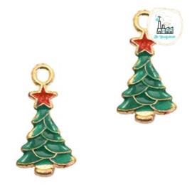 Bedels Kerstboom Goud-groen 20x11mm