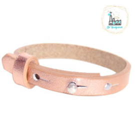 Cuoio armband leer kids 8mm Holographic Rosegold