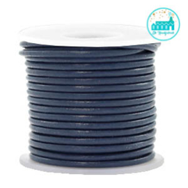 Round Leather String 2 mm Dark Blue