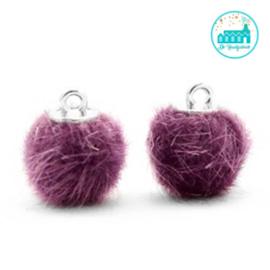 Mini Pompons Faux Fur 12 mm Violet Paars