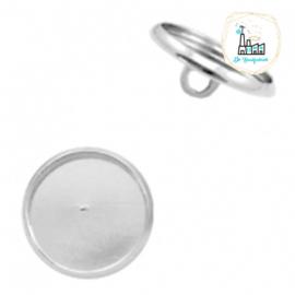 Settings knoopje metaal voor stipsteentjes 12mm Zilver