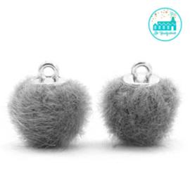 Mini Pompons Faux Fur 12 mm Grijs