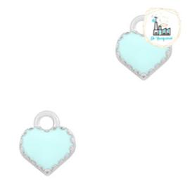 bedels hart Zilver-Light Blue 9 x 8 MM
