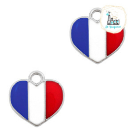 bedels hart Zilver-Red white blue 12 x12  MM