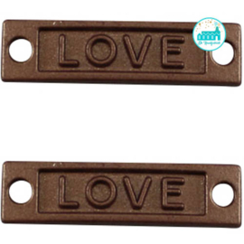Metalen label Love bruin  28 mm x 7 mm
