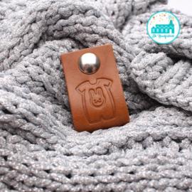 Big Labels with Push-Button Cognac 10 cm x 3 cm 'Baby Suit'