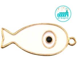 Vis bedel met 1 oogje 44 mm x 20 mm cremé goud