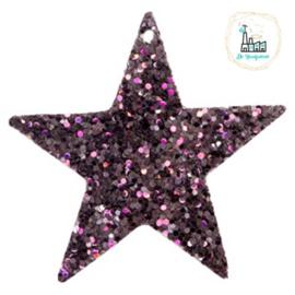 Imi leer hangers ster met glitters Black-purple 5 CM
