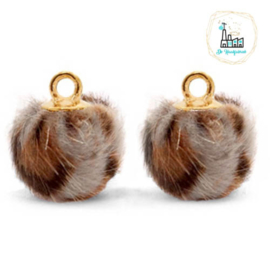 Pompom bedels met oog faux fur leopard 12mm Taupe brown-gold