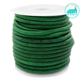 Round Leather String 3 mm Vintage Green