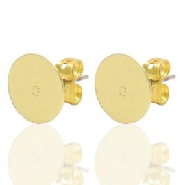 DQ metaal earpin rond 10mm Goud (nikkelvrij)