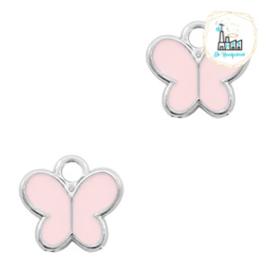 bedels vlinder Zilver Pink 8 x 8 MM
