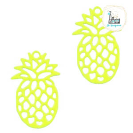 Bedel Bohemian ananas neon geel  19 mm x 12 mm