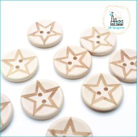 Wooden Buttons 30 mm 'Star'