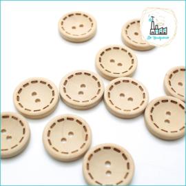 20 mm Houten Knopen met stiksel