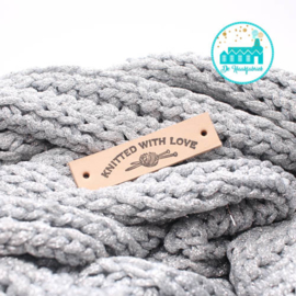 Knitted With Love Leren label 1,5 cm breed Bedrukt