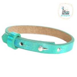Cuoio armband leer kids 8mm Holographic Green
