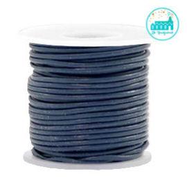 Round Leather String 1 mm Dark Blue